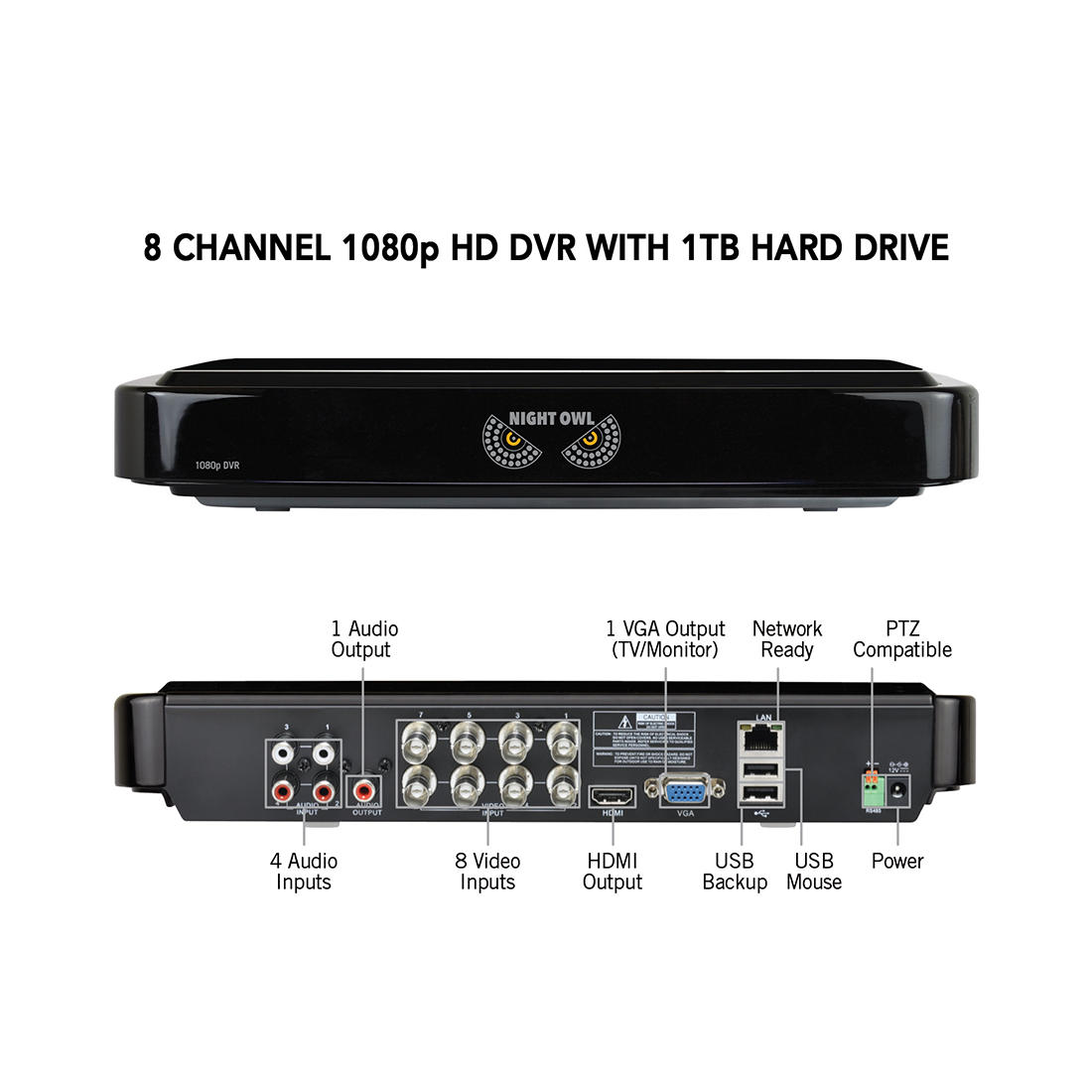 Night Owl 8-Channel 8-Camera 1080p Wired Security System with 1TB HDD DVR