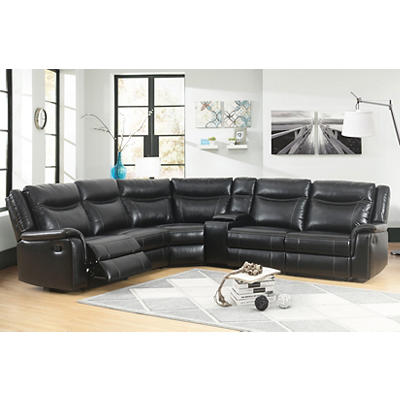 Abbyson Living Augusta 6-Pc. Reclining Sectional - Black