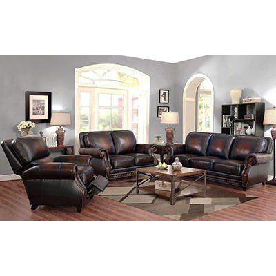 Abbyson Living Woodlands 3-Pc. Top-Grain Leather Sofa Set - Brown