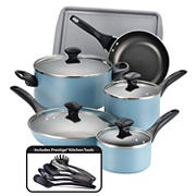 Farberware 15-Pc. Dishwasher Safe Nonstick Cookware Set - Aqua