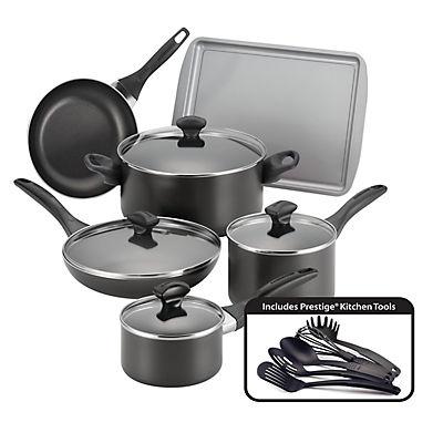 Farberware 15-Pc. Dishwasher Safe Nonstick Cookware Set - Black