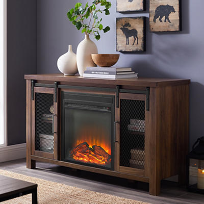 "W. Trends Farmhouse 48"" Sliding Door Fireplace TV Stand - Dark Walnut"