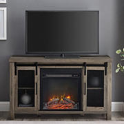 """W. Trends 48"""" Farmhouse Sliding Door Fireplace TV Stand for Most TV's up to 55"""" - Grey Wash"""