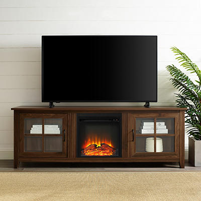 "W. Trends 70"" Wood Fireplace Media TV Stand - Dark Walnut"