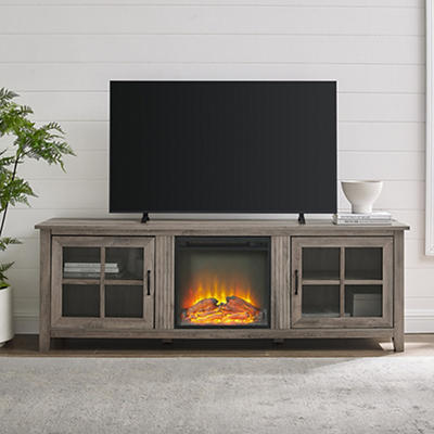 "W. Trends 70"" Wood Fireplace Media TV Stand - Gray Wash"
