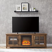 "W. Trends Antonio 70"" Fireplace TV Stand for TVs Up to 75"" - Rustic Oak"