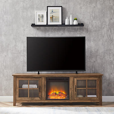 "W. Trends 70"" Wood Fireplace Media TV Stand - Rustic Oak"