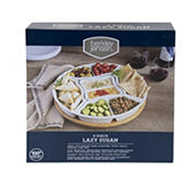 6-Pc. Porcelain Lazy Susan Serving Set with Bamboo Tray