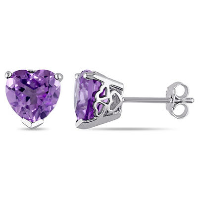 3.30 ct. TGW Amethyst Heart Stud Earrings in Sterling Silver