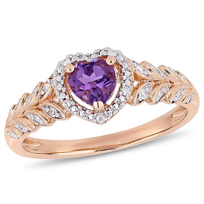 .40 ct. TGW Amethyst and Diamond-Accent Heart Halo Ring in 10k Rose Gold, Size 9