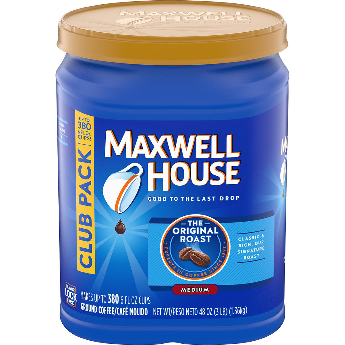 graphic regarding Maxwell House Coffee Coupons Printable identified as Maxwell Dwelling Authentic Roast Floor Espresso, 48 oz.