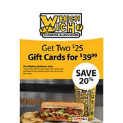 $25 Which Wich Gift Cards, 2 pk.
