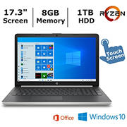 HP 17-ca0011ds Touchscreen Laptop, AMD Ryzen 3 2300U Processor, 8GB Memory, 1TB Hard Drive