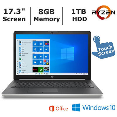 HP 17-ca0011ds Touchscreen Laptop, AMD Ryzen 3 2300U Processor, 8GB Me
