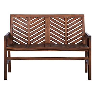 W. Trends Outdoor Acacia Wood Love Seat - Dark Brown