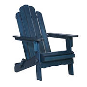W. Trends Folding Acacia Wood Adirondack Chair - Blue Wash