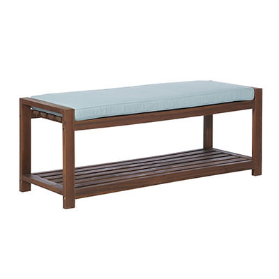 W. Trends Outdoor Acacia Wood Storage Bench - Natural