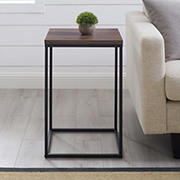 "W. Trends Industrial 16"" Square Side End Table - Dark Walnut"