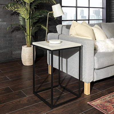 "W. Trends Industrial 16"" Square Side End Table - Faux Marble"