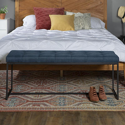 """W. Trends Modern 48"""" Linen Upholstered Tufted Accent Bench - Blue"""