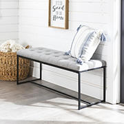 "W. Trends Modern 48"" Linen Upholstered Tufted Accent Bench - Gray"