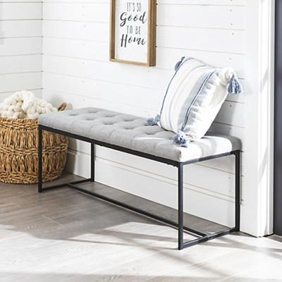 """W. Trends Modern 48"""" Linen Upholstered Tufted Accent Bench - Gray"""