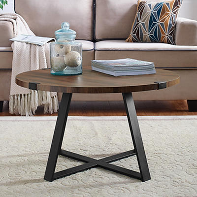 "W. Trends Farmhouse 30"" Round Coffee Cocktail Table - Dark Walnut"