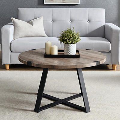 "W. Trends Farmhouse 30"" Round Coffee Cocktail Table - Gray Wash"