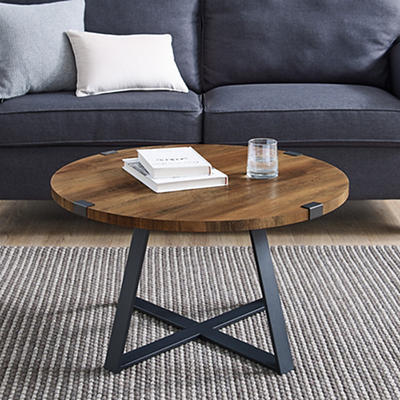 "W. Trends Farmhouse 30"" Round Coffee Cocktail Table - Rustic Oak"