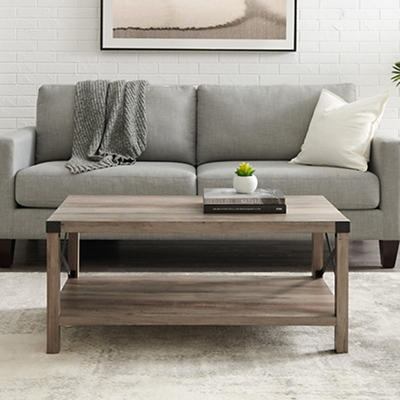 "W. Trends Farmhouse 40"" Square Coffee Cocktail Table - Gray Wash"