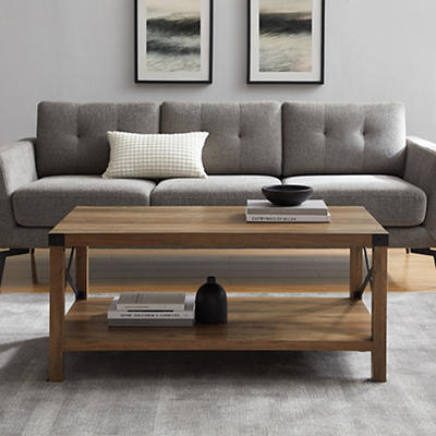 "W. Trends Farmhouse 40"" Square Coffee Cocktail Table - Rustic Oak"