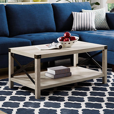 "W. Trends Farmhouse 40"" Square Coffee Cocktail Table - White Oak"