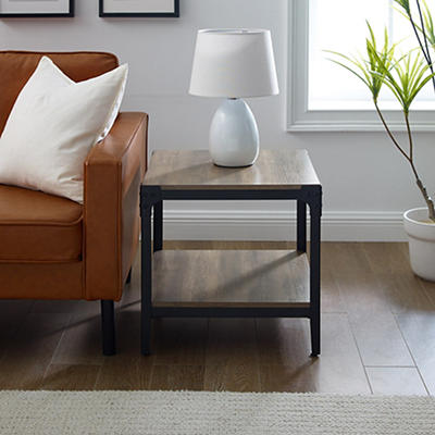 "W. Trends Industrial 20"" Square Side End Tables, Set of 2 - Gray Wash"