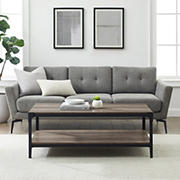 """W. Trends Industrial 20"""" Square Coffee Cocktail Table - Gray Wash"""