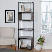 "W. Trends Industrial 70"" Media Storage Bookcase - Dark Walnut"