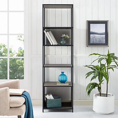"W. Trends Industrial 70"" Media Storage Bookcase - Gray Wash"