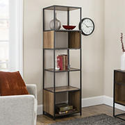 "W. Trends Industrial 70"" Media Storage Bookcase - Rustic Oak"