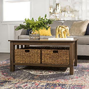 "W. Trends Traditional 40"" Coffee Table with Storages Totes - Dark Walnut"
