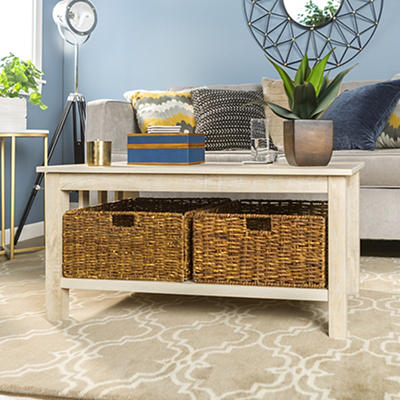 "W. Trends Traditional 40"" Coffee Table with Storages Totes - White Oak"