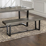 "W. Trends Farmhouse 60"" Solid Wood Dining Bench - Gray"