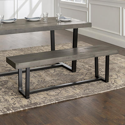 """W. Trends Farmhouse 60"""" Solid Wood Dining Bench - Gray"""