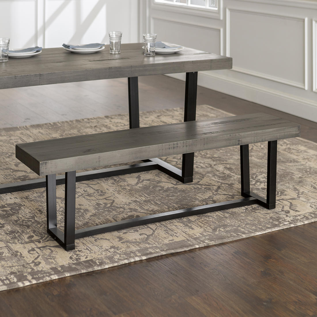Fabulous W Trends Farmhouse 60 Solid Wood Dining Bench Gray Bjs Alphanode Cool Chair Designs And Ideas Alphanodeonline