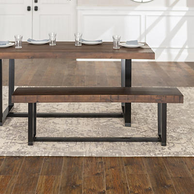 """W. Trends Farmhouse 60"""" Solid Wood Dining Bench - Mahogany"""