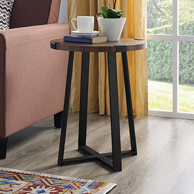 "W. Trends Farmhouse 18"" Round Side End Table - Dark Walnut"