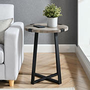 "W. Trends Farmhouse 18"" Round Side End Table - Gray Wash"