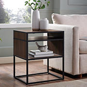 "W. Trends Industrial 20"" Square Side End Table - Dark Walnut"
