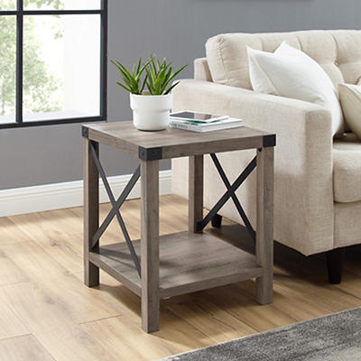 "W. Trends Farmhouse 18"" Square Side End Table - Gray Wash"