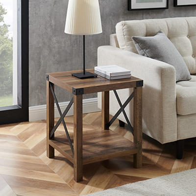 "W. Trends Farmhouse 18"" Square Side End Table - Rustic Oak"