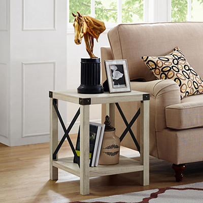 "W. Trends Farmhouse 18"" Square Side End Table - White Oak"