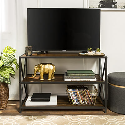 "W. Trends Industrial 40"" Media Console Table Storage Bookcase - Dark Walnut"